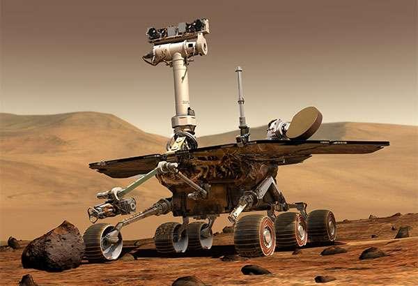 Un'illustrazione mostra il rover Opportunity della NASA su Marte