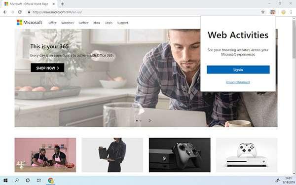 Chrome Web Store: l'estensione Web Activities di Microsoft