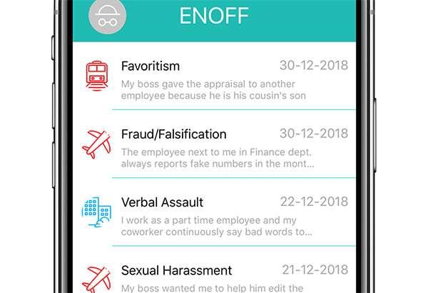 Enoff: screenshot dell'app e segnalazioni