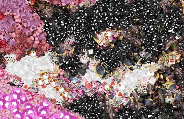 Un dettaglio del mosaico generato da Emoji Mosaic