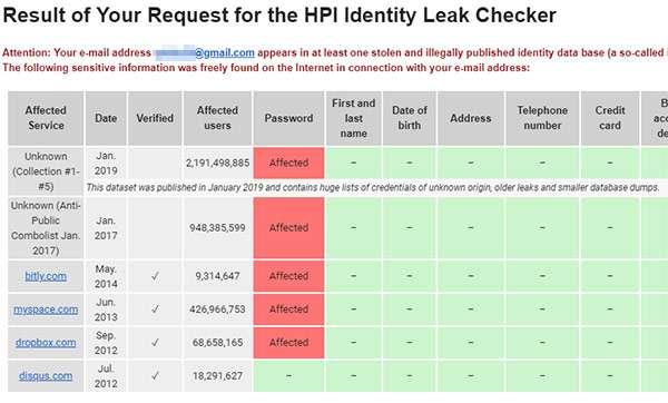 Il risultato del test condotto con il tool HPI Identity Leak Checker