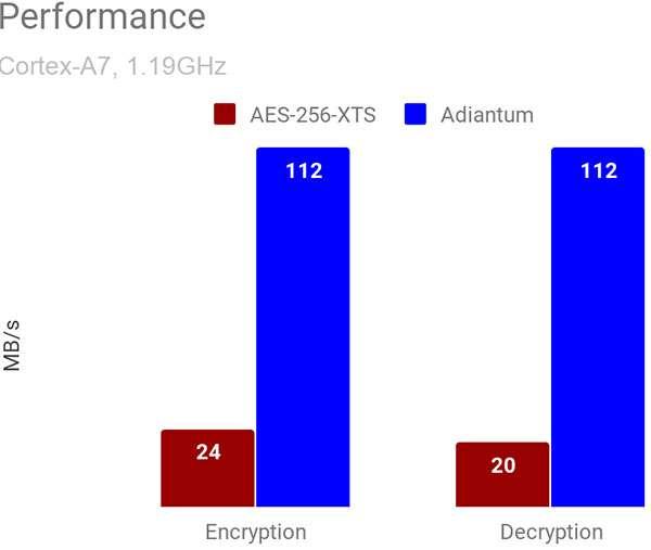 Adiantum, le performance