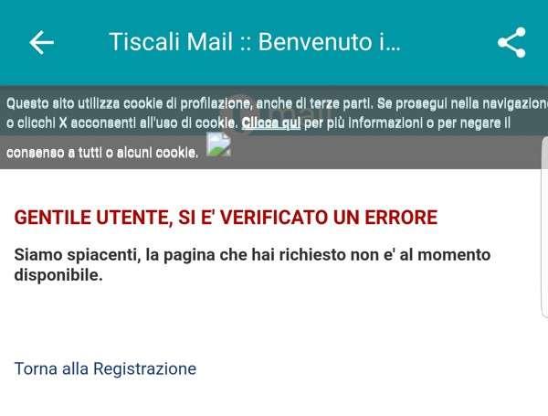 Assistenza Tiscali: impossibile registrare nuove email