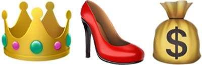 Emoji: una corona, una scarpa con il tacco e un sacco di soldi