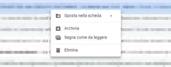 Gmail: le opzioni attualmente mostrate in seguito a un click con il pulsante destro