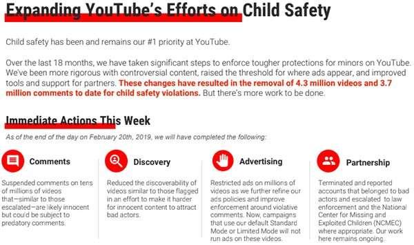 Un estratto dal memo inviato da YouTube ai principali inserzionisti in merito alle iniziative per il contrasto dell'attività dei pedofili sulla piattaforma