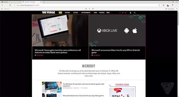 Uno screenshot per la nuova versione del browser Edge basata su Chromium