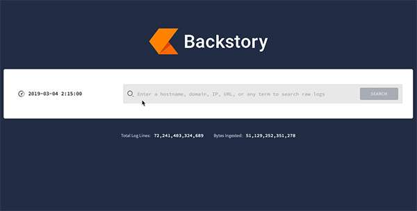 L'interfaccia di Backstory, la soluzione di Chronicle per la cybersecurity
