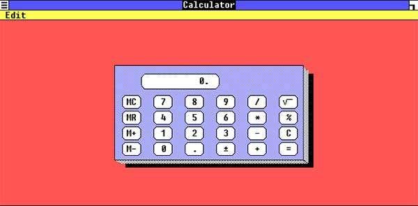 La Calcolatrice di Windows nella versione 1.0 del sistema operativo