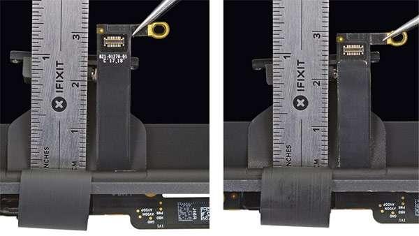 Il cavo del monitor interno al MacBook Pro del 2018 è più lungo rispetto a quello del modello 2016