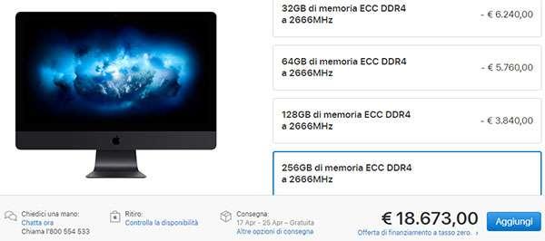La configurazione più avanzata di Apple iMac Pro costa 18.673 euro