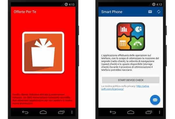 Due delle applicazioni infette, distribuite su Play Store