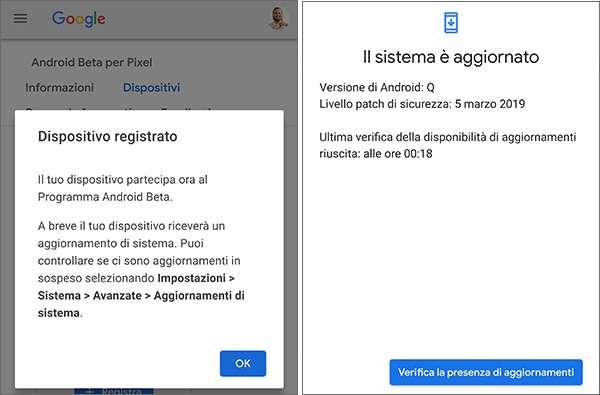 La Beta 1 di Android Q sullo smartphone Google Pixel 3 XL