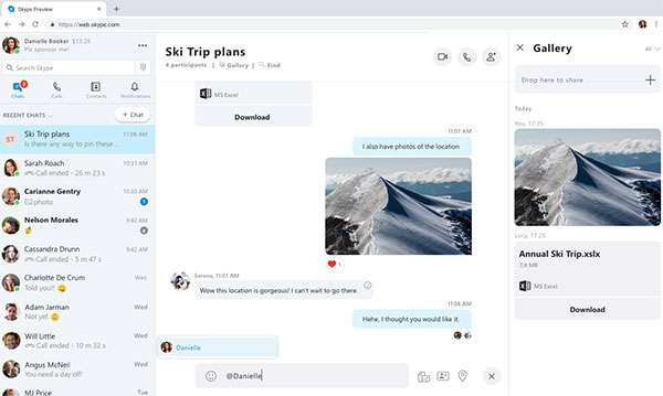 L'interfaccia del nuovo Skype for Web