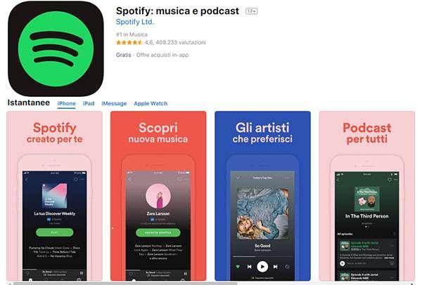 L'applicazione iOS di Spotify su App Store