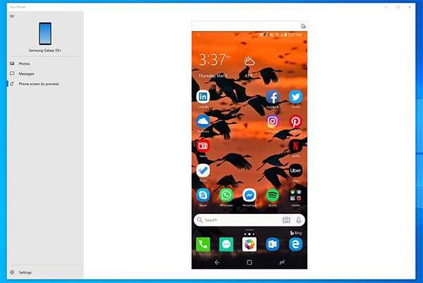 Un'applicazione Android in esecuzione all'interno di Windows 10