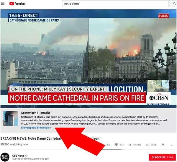 YouTube ha mostrato un link verso un approfondimento sugli attacchi dell'11 settembre nel live streaming dell'incendio alla cattedrale di Notre-Dame