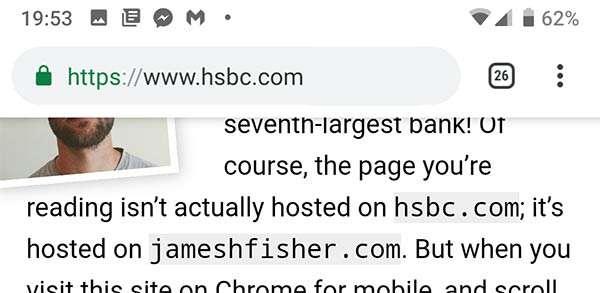 Una finta barra dell'indirizzo per Chrome su mobile
