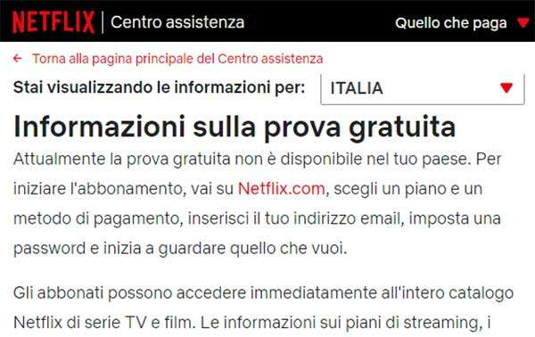 Netflix: niente più mese di prova gratuito per l'Italia