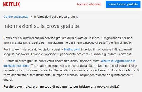 Netflix e il mese di prova gratuita offerto in passato