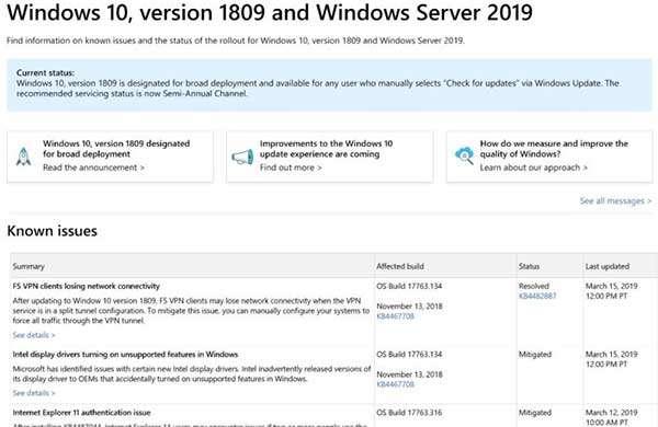 La nuova dashboard con le informazioni relative agli aggiornamenti di Windows 10