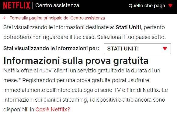Netflix e il periodo di prova gratuita negli Stati Uniti