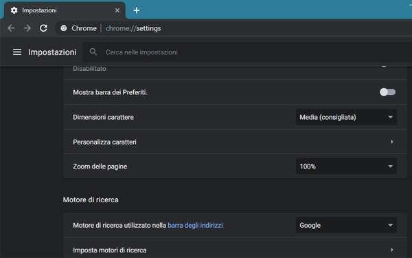 L'interfaccia di Chrome con la Dark Mode attivata su Windows