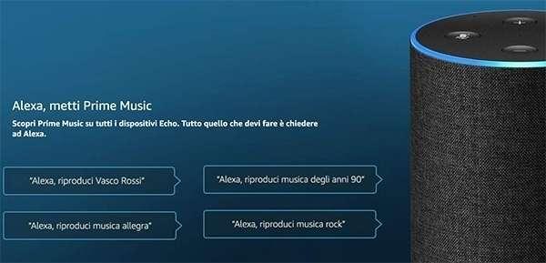Lo streaming di Amazon Prime Music su un dispositivi Echo con supporto ad Alexa