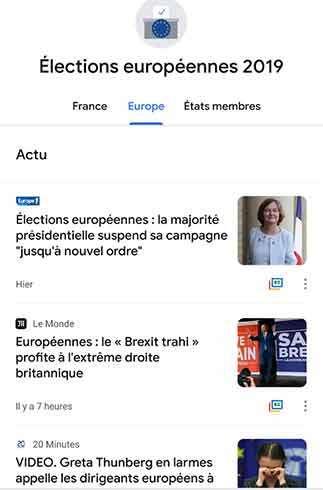 La sezione dedicata alle Elezioni Europee su Google News