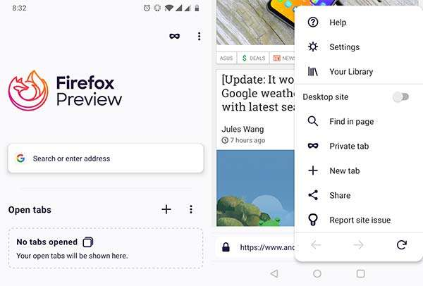 Screenshot per l'interfaccia del browser Fenix su Android
