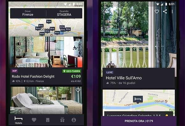 Screenshot per l'applicazione di Hotel Tonight su smartphone Android
