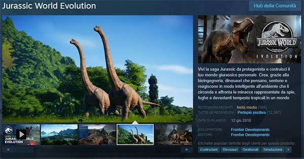 La scheda di Jurassic World Evolution su Steam