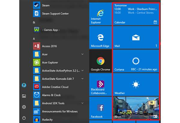Le Live Tile del sistema operativo Windows 10