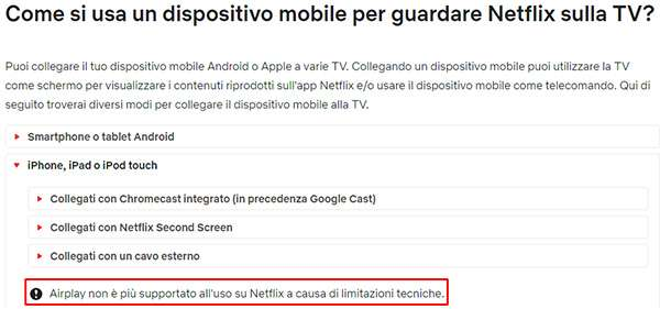 Netflix: stop al supporto per AirPlay