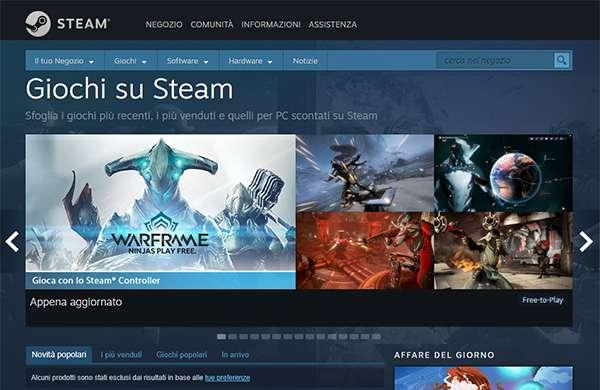 Il catalogo di giochi per PC proposto dalla piattaforma Steam di Valve