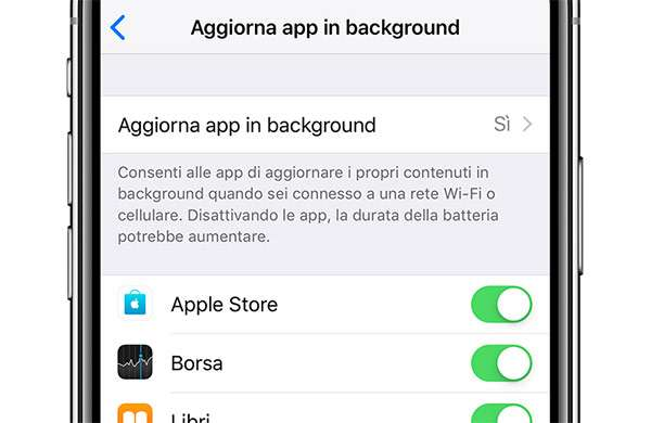 iOS: Aggiorna app in background