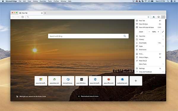 La versione macOS del browser Edge di Microsoft