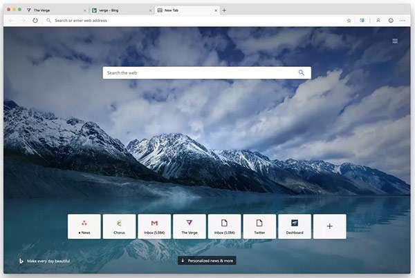 L'interfaccia del browser Edge su macOS