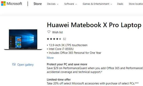 Il MateBook X Pro di Huawei sullo store online di Microsoft