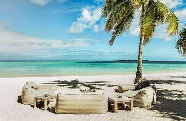 Uno scorcio dell'atollo privato disponibile su Airbnb Luxe