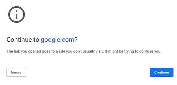 Chrome avvisa l'utente quando sta per visitare un URL ritenuto sospetto