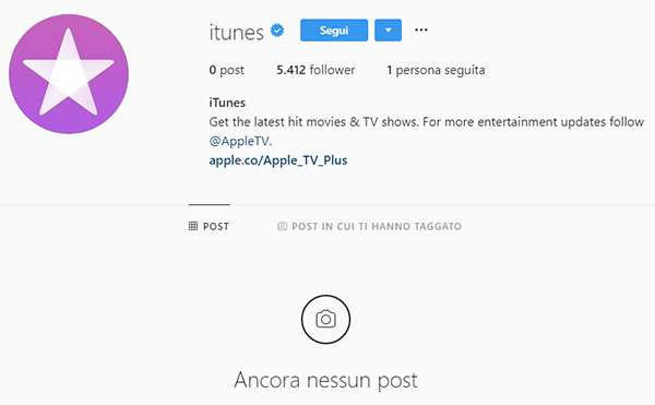 iTunes su Instagram