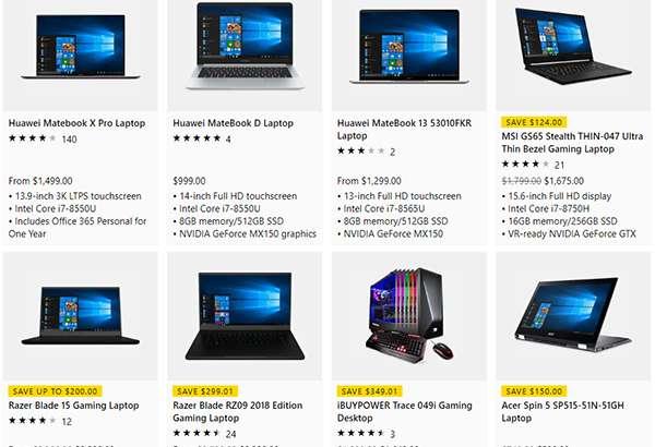 I laptop in vendita sullo Store di Microsoft
