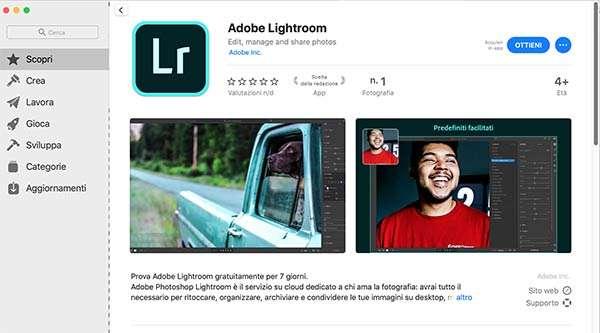 Adobe Lightroom su Mac App Store