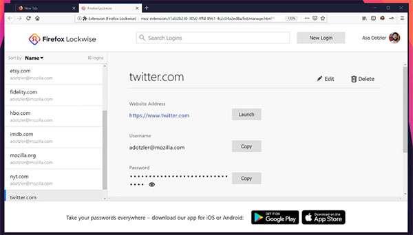 La versione desktop di Firefox Lockwise