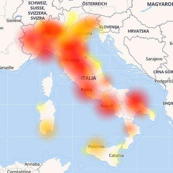 La mappa del blackout Vodafone in Italia