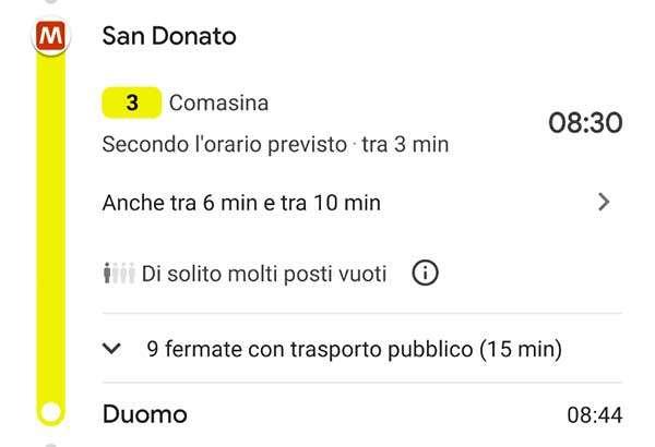 Google Maps: la metro di Milano