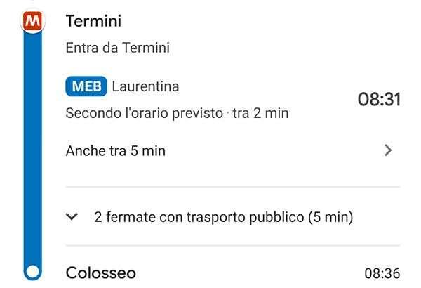 Google Maps: la metro di Roma