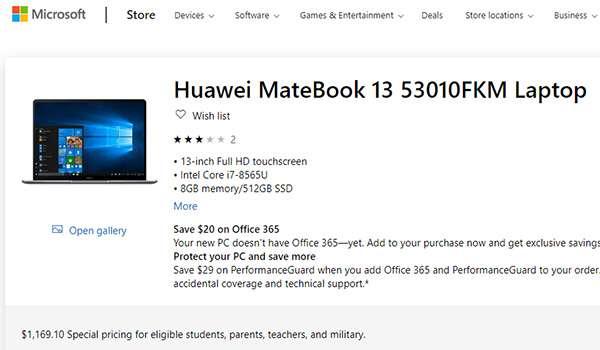 Huawei MateBook su Microsoft Store