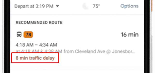 Google Maps stima il ritardo dei mezzi pubblici di superficie che non forniscono aggiornamenti in tempo reale